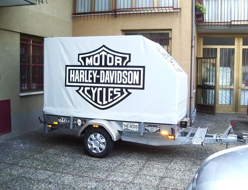 Pubblicità carrello porta moto telonato