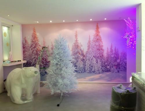 Scenografia paesaggio invernale su parete